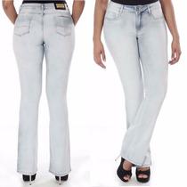 Calça Jeans Feminina Sawary Flare Com Bojos Modela Bumbum