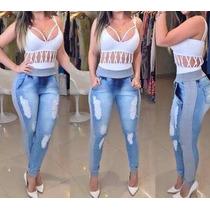 Calça Jeans Feminina Destroyed Cós E Punho De Moletom