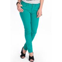 Calça Jeans Feminina Skinny Canal Basic Verde