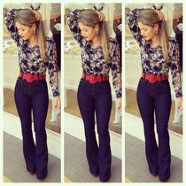 Calça Cintura Alta Jeans Feminina Hot Pants Cos Alto Flare