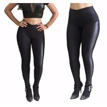 Calça Feminina Legging Slim Montaria Cós Alto Bolso Elastano