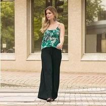 Calça Pantalona Preta Plus Size 58 60 62 Eg Exg Xxg