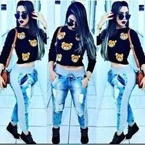 Calça Jeans Moletom Feminina Destroyed - Tecido De Qualidade