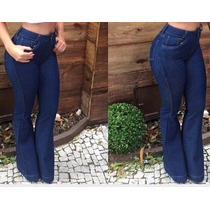 Calça Jeans Flare - Cintura Alta - Hot Pants,disco Pants