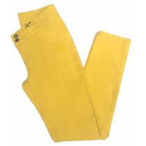 Calça Feminina Amarela De Sarja Com Elastano - 44 Ao 60