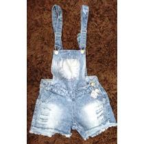 Jardineira Macaquinho Jeans Shorts Feminino