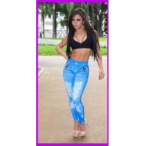 Calça Legging Estampa Jeans (clara) Ótima Qualidade