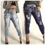 Calça Feminina Jeans Com Moletom Destroyed Molejeans -oferta