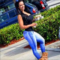 Calça Legging Jeans Fake Estampada Sue Lasmar Pronta Entrega
