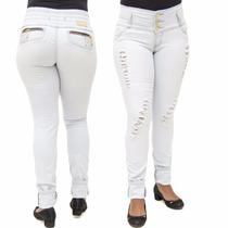 Calça Jeans Feminina Legging Helix Rasgada Levanta Bumbum