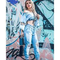 Conjunto Calça Jeans E Cropped @ Enviamos Em 7 Dias