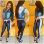 Kit 3 Calças Jeans Feminina Cós E Punho De Moletom 3f36