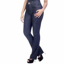 Calça Flare Cos Alto Cintura Alta Jeans Feminina Sawary