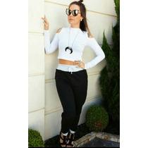 Calça Moleton Feminina Inverno 2016 Bicolor -moda Blogueira