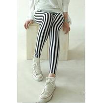 Calça Legging - Listrada - Branco E Preto