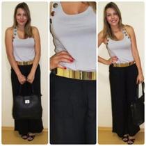 Calça Pantalona Feminina Tecido Importado - Cod 0100