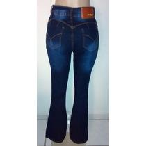 Calça Jeans Flare Cintura Alta Hot Pant Boca De Sino