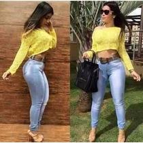 Calça Jeans Cintura Alta Hot Pants Clara Levanta Bumbum