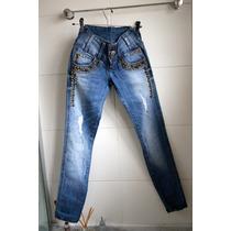 Calça Jeans Cintura Alta, Hot Pants, Rasgada Rebites Pedras