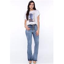 Calça Flare Jeans Cintura Alta Com Botões Handara Promoção