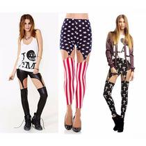 Calça Sexy Malha Leggings Com Suspensórios J.rock Punk Emo