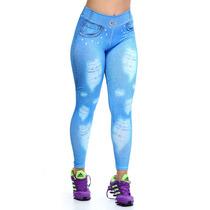 Calça Legging Com Estampa Jeans Rasgado Fitness Academia Leg