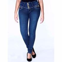 Sawary Calça Jeans Cintura Média Cós Largo Ziper