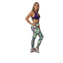 Calça Legging Estampada Transpassada Suplex Fitness Academia