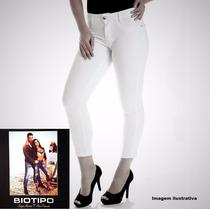 Calça Branca Feminina Corpete Capri Biotipo Com Elastano.
