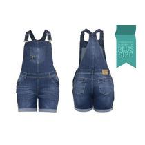Linda Jardineira Jeans Feminina Fact Normal E Plus Size 2314