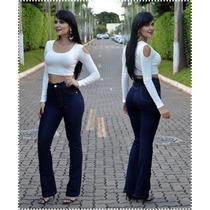 Calça Jeans Feminina Hot Pants Cos Alto Flare Pronta Entrega