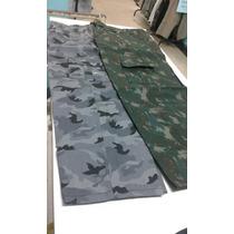 Calças Camufladas Com Elasticos Camuflado Verde E Cinza