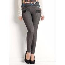 Calça Social Cinza Cirré Cotton Jeans Elástico Cós Linda