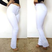 Calça Flare Branca Jeans Feminina Cós Alto Reveillon!!!