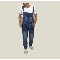 Jardineira Longa Jeans Masculina Cavada Corte Reto Stillu