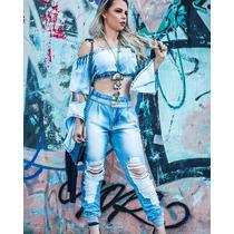 Conjunto Calça Jeans Destroyed E Cropped Flair