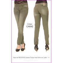 Calças Jeans Skinny Azul Verde Listrada Preta Branca Hot 642