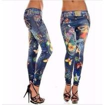 Promoção Calça Legging Importada Jeans Azul Frete Grátis