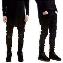 Calça Masculina Jeans Sarja Skinny Preta Rasgada