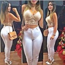 Calça Jeans Cintura Alta Hot Pants Levanta Bumbum Branca