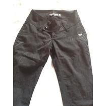 Calca Jeans Preta Estampa De Onça