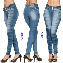Calça Azul Gata Jeans Lycra Tem Flare Cintura Alta Hot P 824