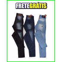 Kit Atacado 03 Calças Jeans Masculina Skinny, Vários Modelos