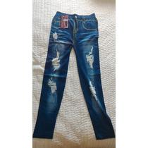 Legging Jeans Estonado Calça Leg Estampada Nova Defeito