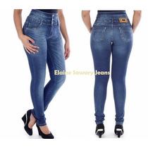 Hot Pants Sawary Levanta Bumbum Cintura Alta Cós Duplo