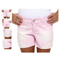 Shorts Infantil Em Sarja Com Renda Guipir Rosa - Tam 4! Novo