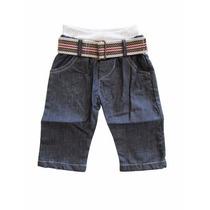 Calça Jeans Com Cinto Kidins Bebê Menino Kd 3206