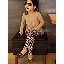 Calça Legging Infantil Animal Print Leoardo Onça Oncinha