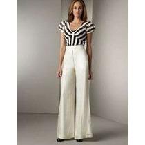 Calça Pantalona Importada M- Social Muito Elegante Em Linho