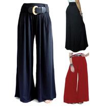 Calça Pantalona Em Viscolycra Com Passante De Cinto.